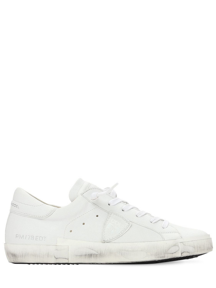 PHILIPPE MODEL Paris Leather & Suede Sneakers in white