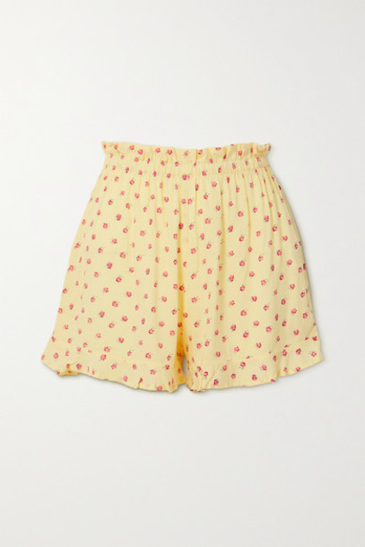 Faithfull The Brand - Pampelonne Ruffled Floral-print Crepe Shorts - Yellow