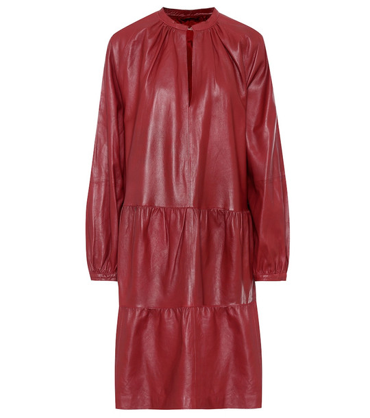Stand Studio Lida leather midi dress in red