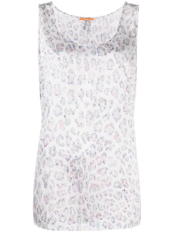 BOSS leopard print silk vest in white