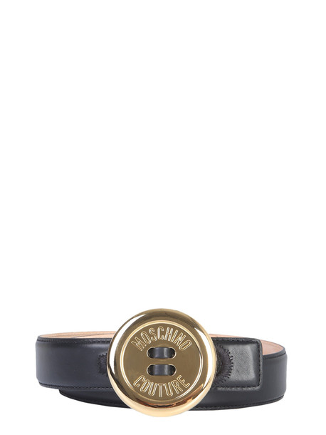 Moschino Belt With Moschino Button Buckle in nero