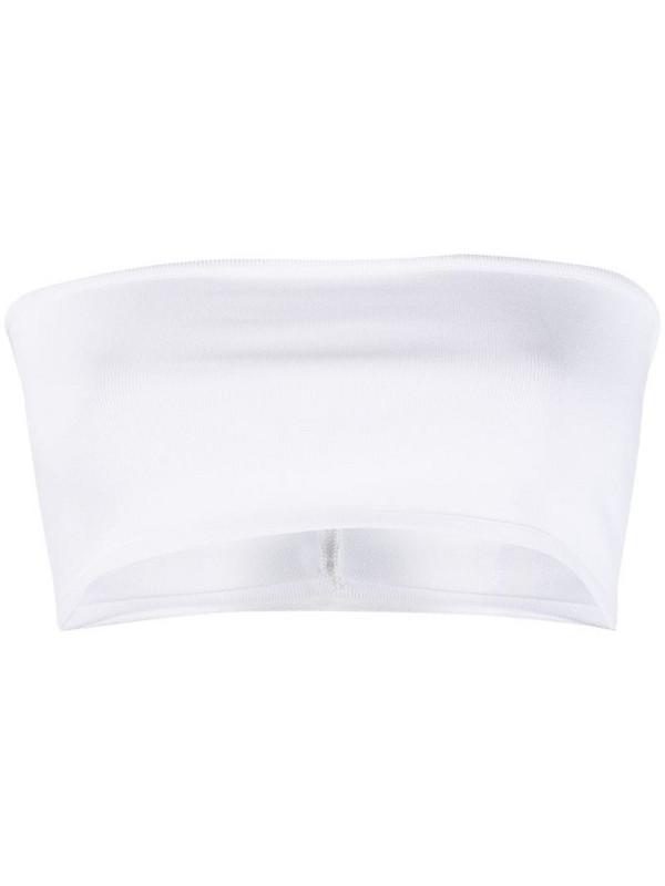 Balmain velvet-effect bandeau top in white