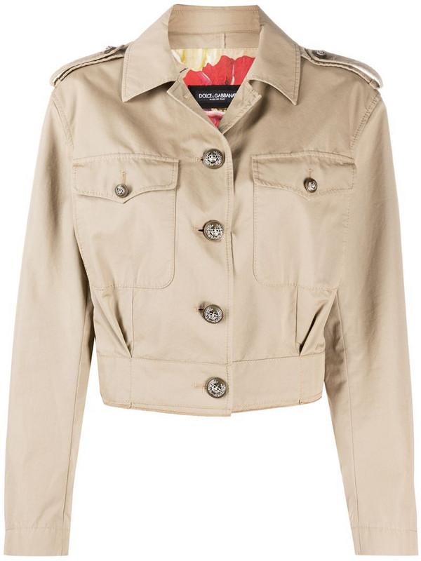 Dolce & Gabbana button-up cropped jacket in neutrals