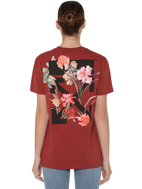 OFF WHITE Floral Print Cotton Jersey T-shirt