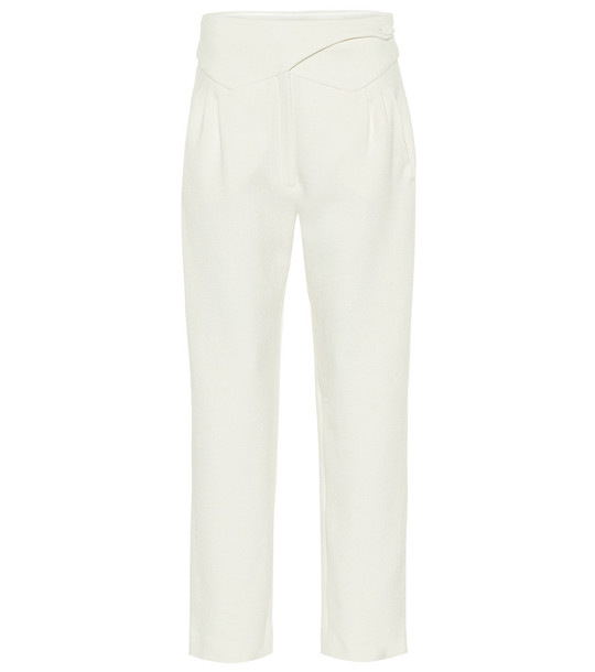 Blazé Milano Basque high-rise wool straight pants in white
