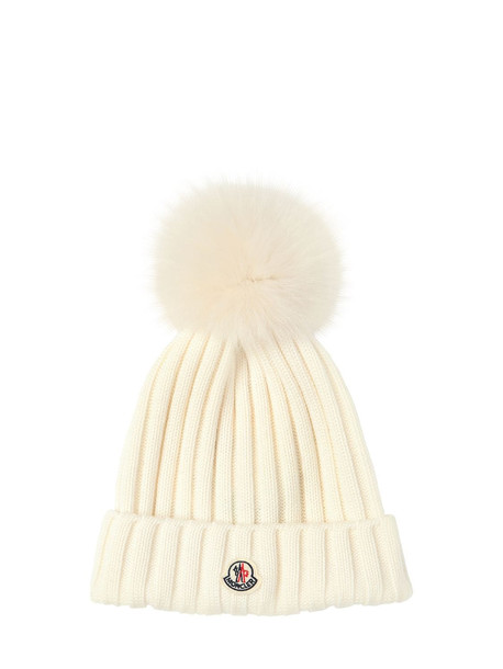MONCLER Wool Knit Hat W/ Fur Pompom in white