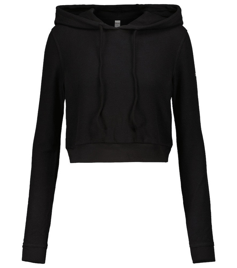 Alo Yoga Getaway cropped jersey hoodie in black