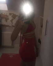 dress,red tight fit dress