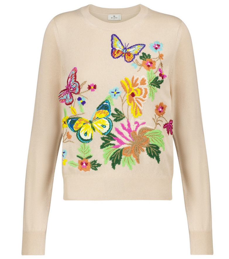 Etro Embroidered sweater in beige
