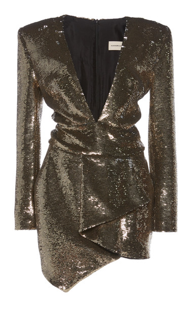 Alexandre Vauthier Sequined Draped Mini Dress Size: 40