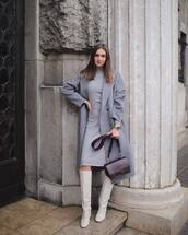 coat,wool coat,grey coat,white boots,knee high boots,turtleneck dress,midi dress,belted dress,shoulder bag