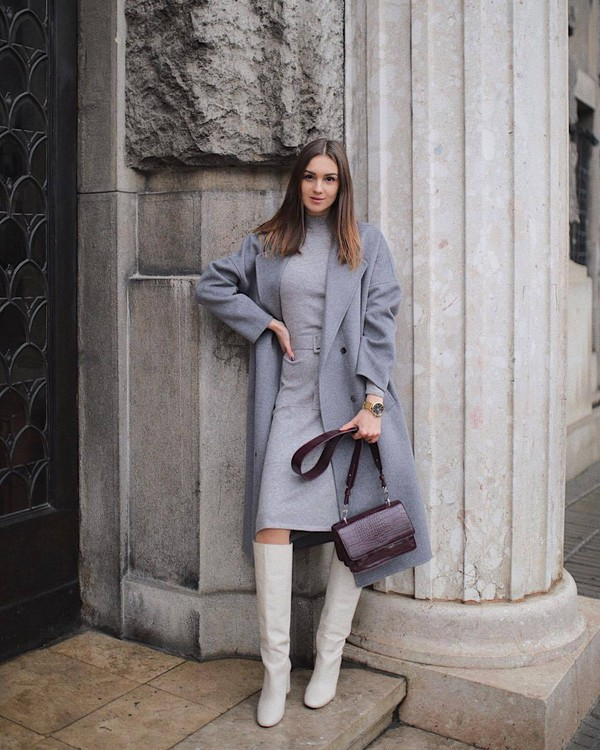 coat wool coat grey coat white boots knee high boots turtleneck dress midi dress belted dress shoulder bag