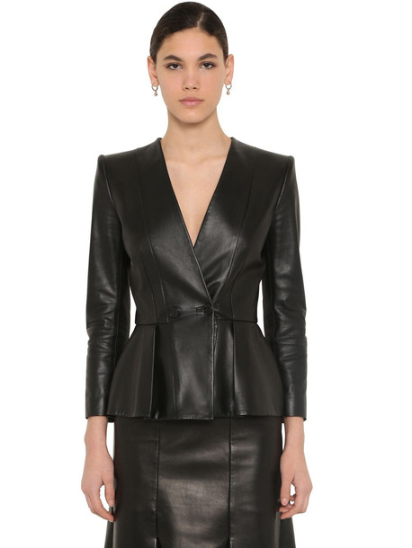 ALEXANDER MCQUEEN Flared Nappa Leather Jacket in black