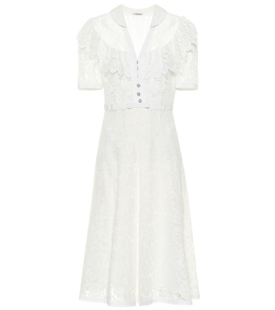 Miu Miu Lace midi dress in white