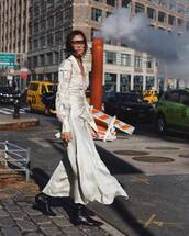dress,midi dress,white dress,long sleeve dress,lace dress,black boots,knee high boots,self portrait