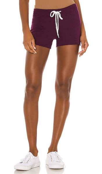 MONROW Supersoft Vintage Shorts in Wine in merlot
