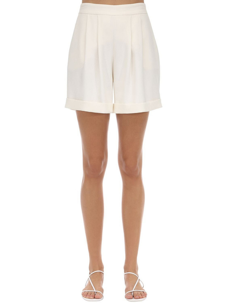 HEBE STUDIO Tailored Cady Shorts in ivory