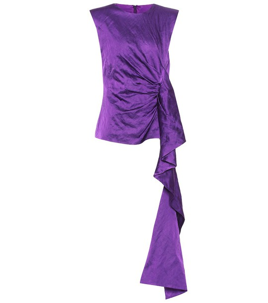 Dries Van Noten Asymmetric satin blouse in purple