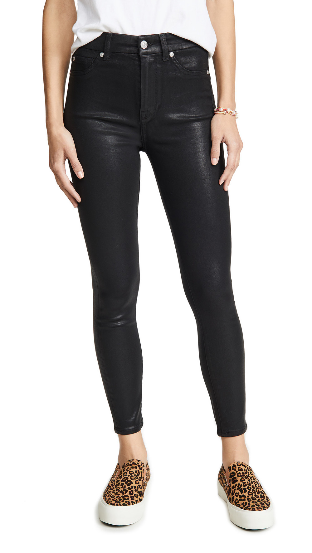 7 For All Mankind High Waisted Skinny Jeans With Faux Pockets in black