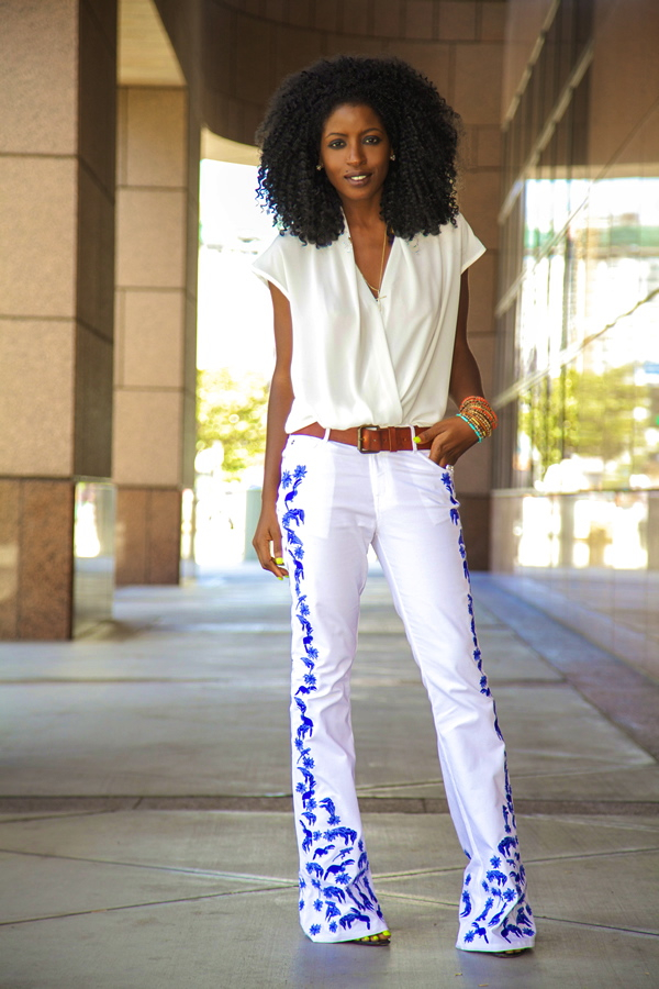 Style Pantry   Wrap Blouse   Embroidered Flare Jeans