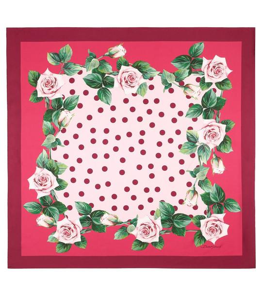 Dolce & Gabbana Printed silk scarf in pink