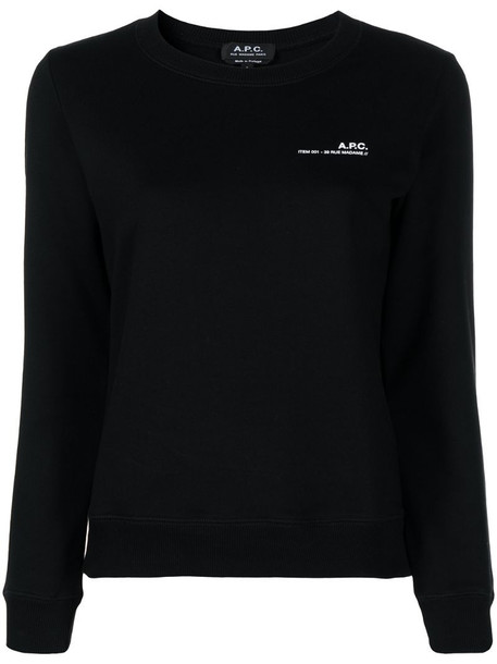 A.P.C. logo crew-neck sweatshirt in black