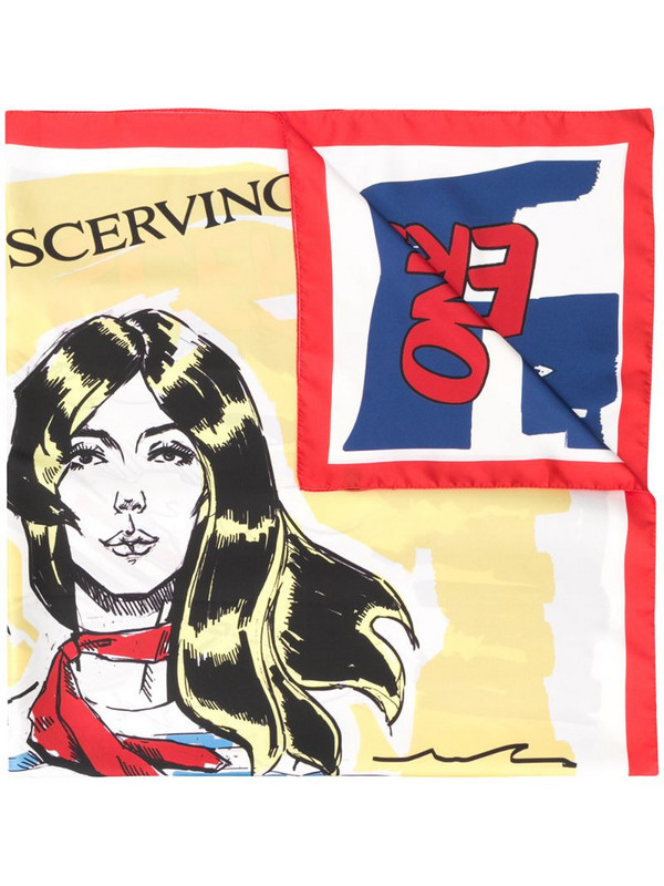 Ermanno Scervino silk graphic print scarf in white