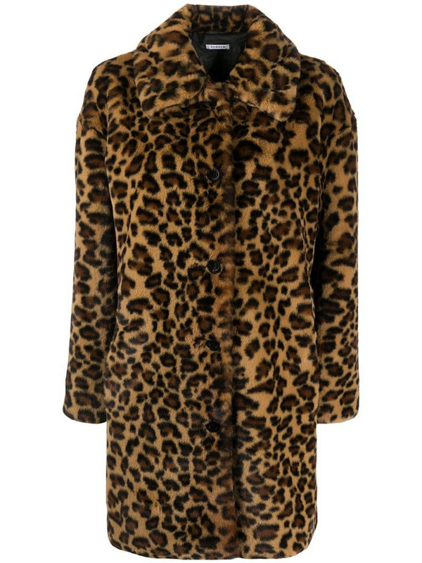 P.A.R.O.S.H. leopard-print single breasted coat in brown