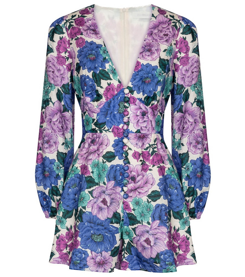 Zimmermann Poppy floral linen playsuit in purple
