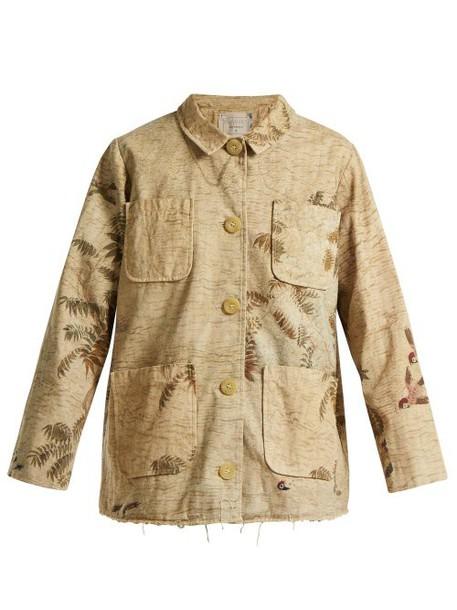 By Walid - Hazy Jungle Print Cotton Canvas Jacket - Womens - Beige Print
