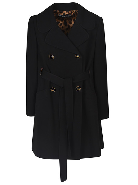 Dolce & Gabbana Double-breasted Coat in nero
