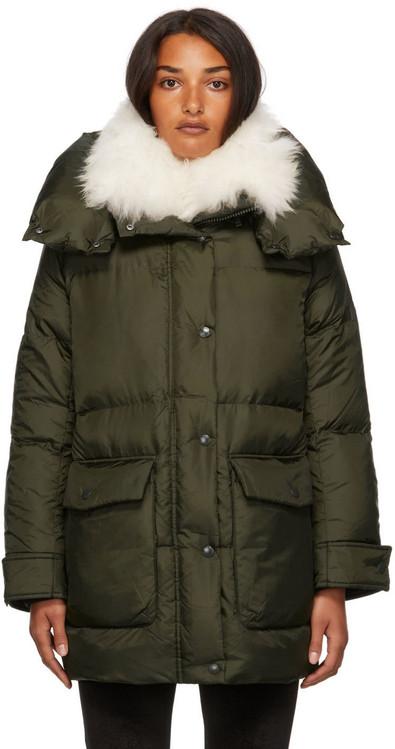 Yves Salomon - Army Down Vaporous Lambswool Trim Long Jacket in green