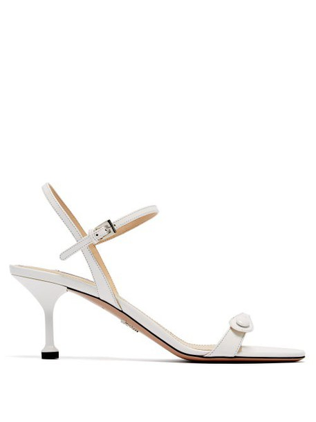 Prada - Button Strap Leather Sandals - Womens - White