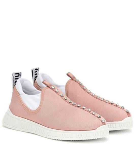 Miu Miu Crystal-embellished sneakers in pink