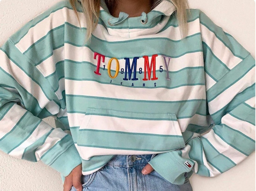 sweater tommy jeans tommy hilfiger jacket mint green and white stripped vintage tommy hilfiger jacket tommy hilfiger sweatshirt sweatshirt hoodie stripes vitage long sleeves women