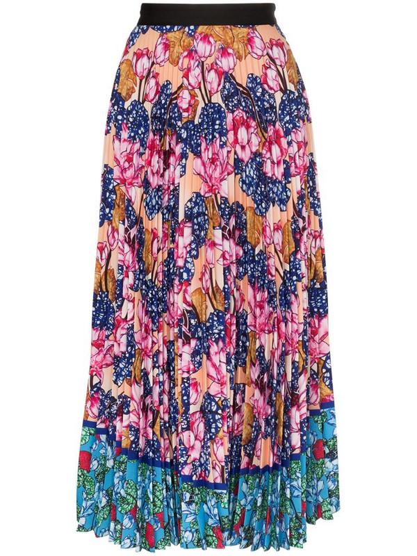 Mary Katrantzou floral print pleated midi skirt in pink
