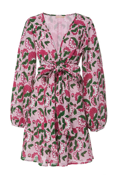 Banjanan Peony Cotton Crepe Mini Dress Size: M in pink