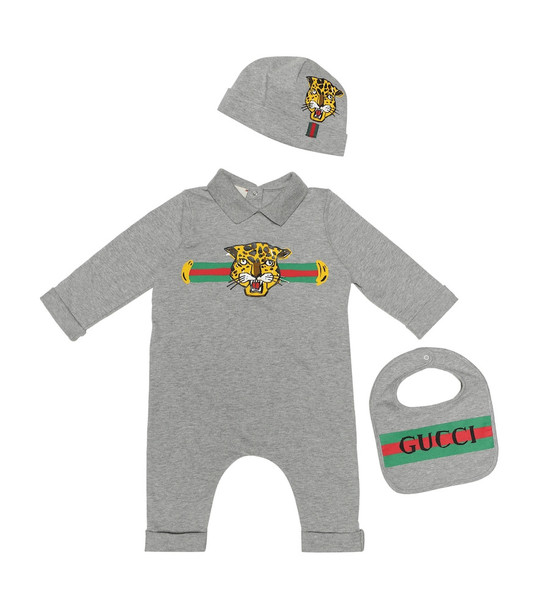 Gucci Kids Cotton onesie, bib and hat set in grey