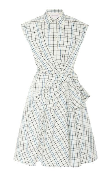 Carolina Herrera Cap Sleeve Bow Shirt Dress Size: 0 in white