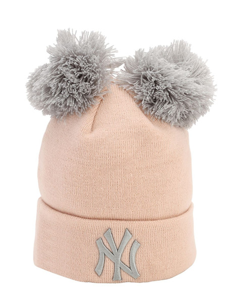 NEW ERA Double Pompom Ny Yankees Knit Beanie in pink