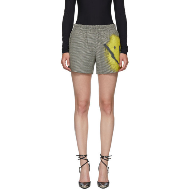 Alexander Wang Black and White Spray Paint Suiting Shorts