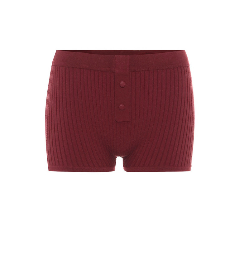 Live The Process Ribbed-knit shorts in red