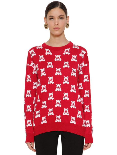MOSCHINO Cotton Knit Bear Crewneck Sweater in red