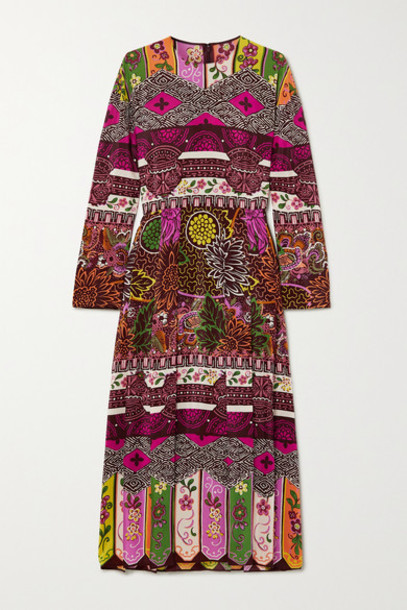 Valentino - Pleated Printed Silk Midi Dress - Plum