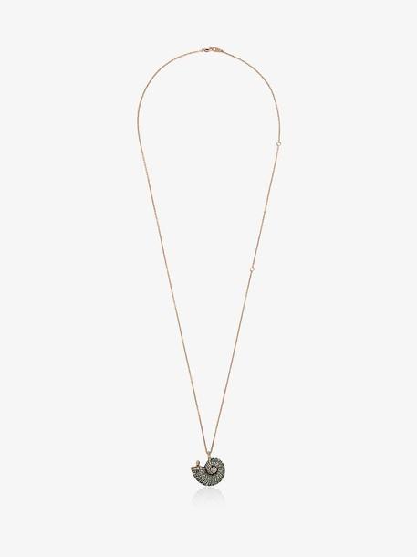 Bibi Van Der Velden 18K rose gold diamond and sapphire shell pendant