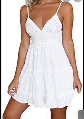 dress,white dress,white,cute,backless,backless dress