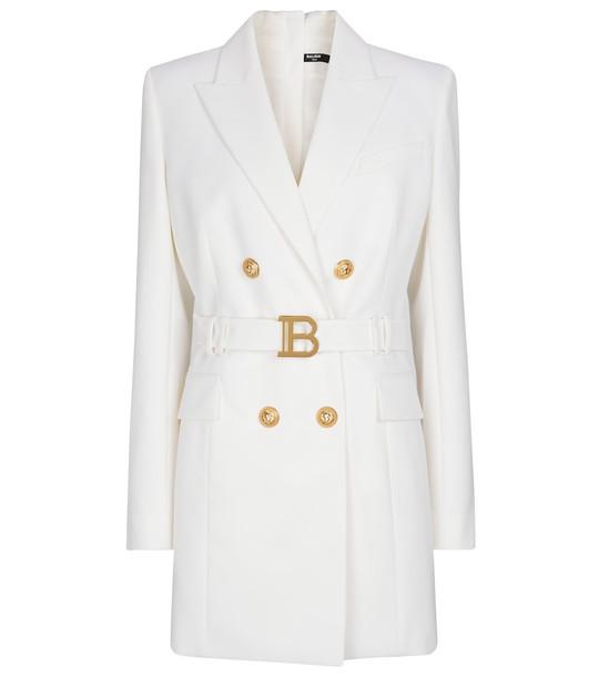 Balmain Belted wool blazer minidress in white