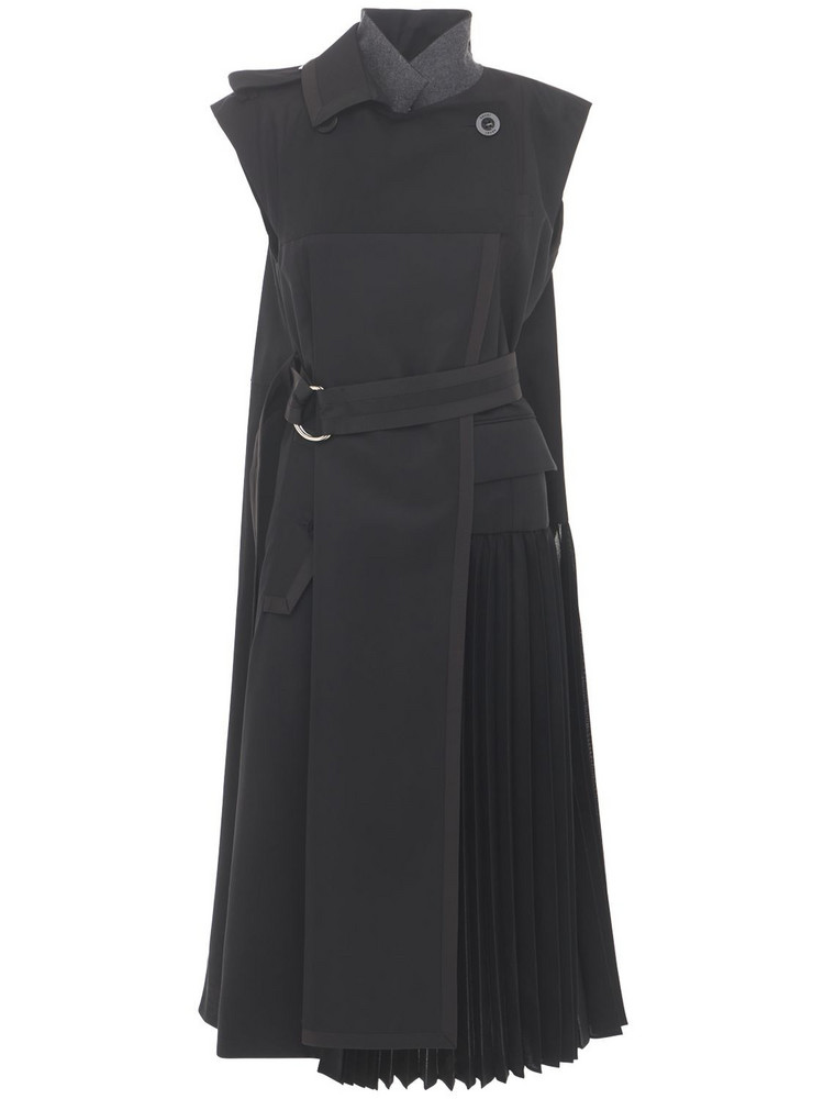 SACAI Pleated Cotton Blend Dress W/ Belt in black
