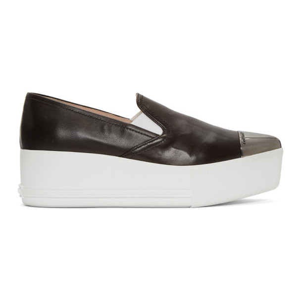 Miu Miu Black Toe Cap Platform Slip-On Sneakers