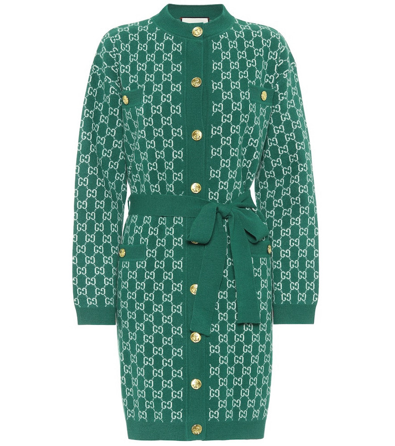 Gucci GG jacquard wool cardigan in green